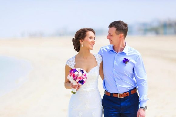 Beach Wedding with Bride's Bouquet