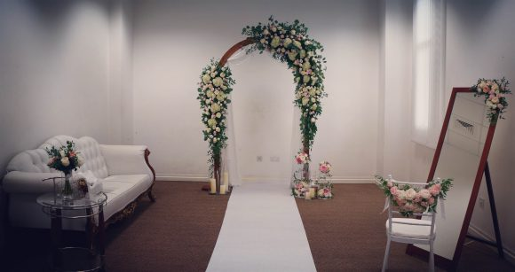 Bridal Room filled with flowers
