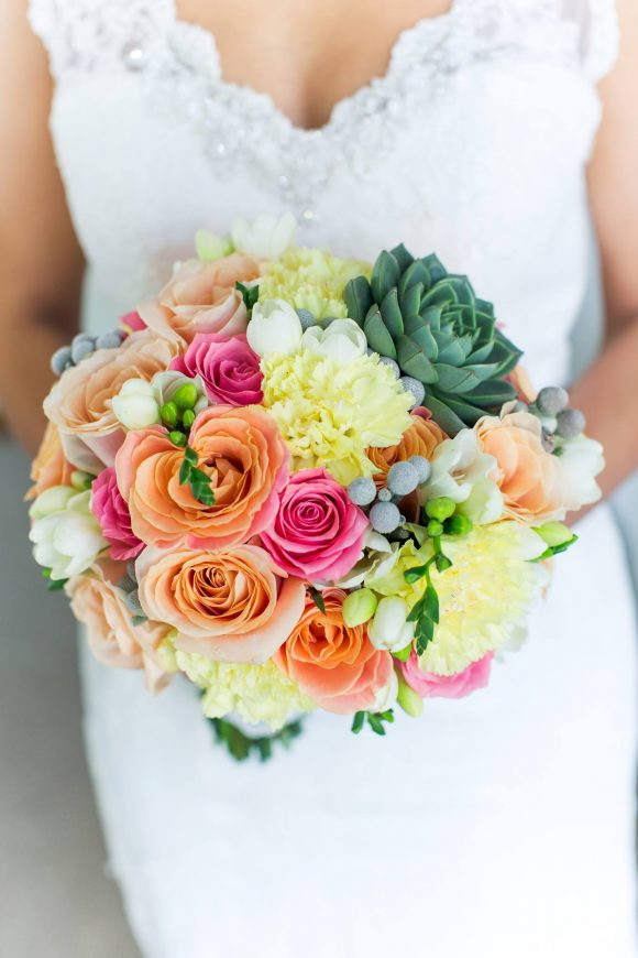 Mixed Bridal Bouquet with Succulent
