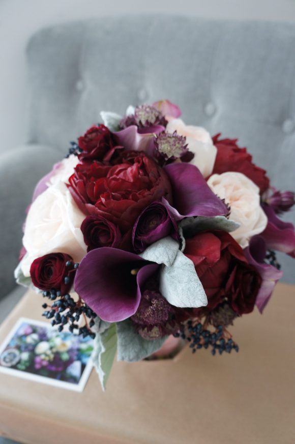 bridal bouquet with red peonies for Dubai Wedding Bride