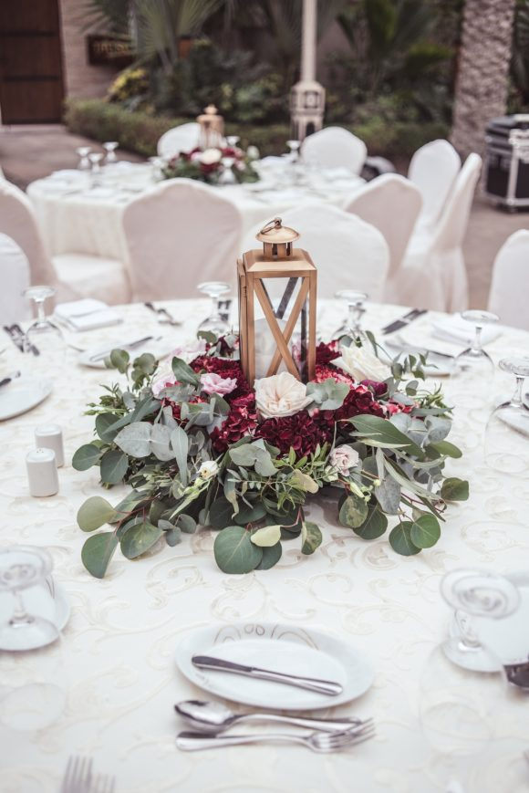 table centerpiece with lantern