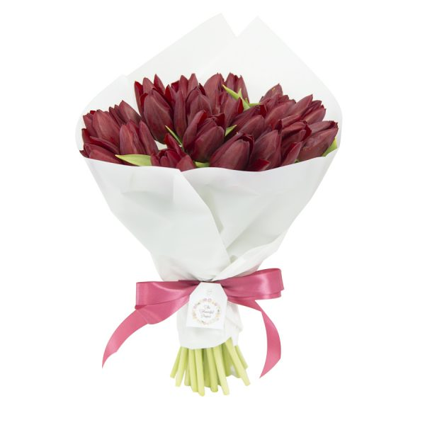 Valetines 5 red crunchy tulips bouquet valentine